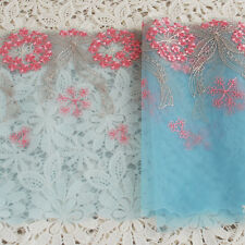 RICAMO TULLE finitura in pizzo-Rosa Dandelion Fiore Blu Topazio - 18cm-EM08