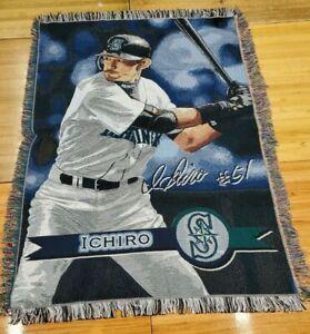 """MLB Genuine SEATTLE MARINERS TAPESTRY WOVEN THROW """"ICHIRO"""". 58""""  X 44"""""""