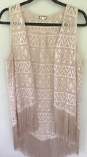 Eye Shadow Womens Vest Cut Out Diamonds & Triangle Fringed ChampagneBeige  M
