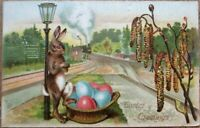 ~Humanized Bunny Rabbit Relaxing On Lamp Post~ Antique Easter Postcard-s124