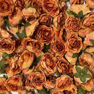 Artificial Silk Flower Heads - Orange Peony Style 146 - 5 Pack