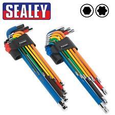 Sealey TWIN PACK EXTRA LONG Ball-End Allen Hex Key & TORX TRX Star Set Coloured