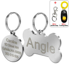 Bone Shape Dog Tags Disc Round Engraved Dog Cat Pet Name ID Tag Stainless Steel