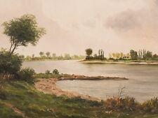 Gemälde von Grau | Weite Flusslandschaft | um 1960 | gerahmt 66 x 77 cm