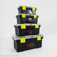 D Pro Tools 4pc Large Plastic Tool Box Chest Set Lockable Removable Storage Tray