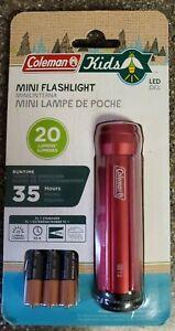 Coleman kids mini FLASHLIGHT LED 20 LUMENS/ 35 HRS camping NEW