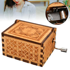 Wooden Music Box Mom To Daughter Classical Music Hand Crank Engraved Toy Gift US