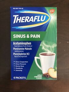 Theraflu Sinus & Pain - Apple Cinnamon - 6 packets - Exp 09/2021