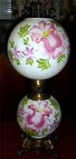 Gone With The Wind Lamp Reproduction Pinkish Purple Green Floral 3 Way Lamp