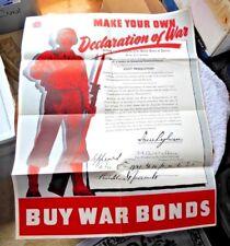 ORIGINAL VINTAGE POSTER DECLARATION OF WAR TO JAPAN BUY WAR BONDS 1942 WWII