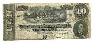 Confederate States (P68) 10 Dollars 1864