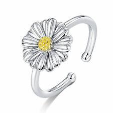 Anillo 925 Plata de Ley Abierto Tamaño Ajustable - Mujeres Esmalte Flor