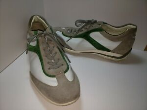 TOD'S Men's Sneakers size 9 US Green White Lace Up Rubber Sole Suede Shoes TODS
