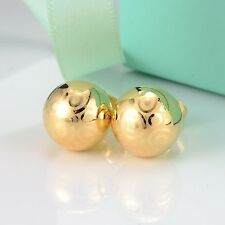 18k Yellow Gold Filled Earrings Ball 8mm bead stud GF Women's  fashion Jewelry