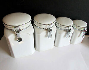 4 piece classic white ceramic kitchen canister set with flip top lids FREE SH