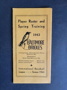 Baltimore Orioles 1943 Spring Training Player Roster Guide - Rare!