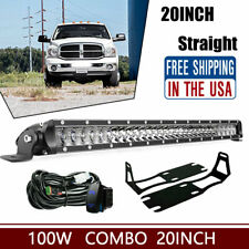 Straight 100W 20inch Bumper Led Light Bar Single Row FOR DodgeRam 1500 2500 3500
