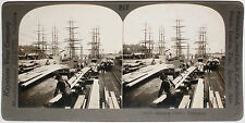 Keystone Stereoview Shipping Lumber by Sail Ships, WA from 1910's Education Set