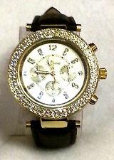 Geneva Rhinestone Gold Bezel MK Chrono Style Wrist Watch Faux Black Snake Band