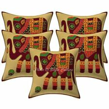 Decorative Cotton Elephant Maroon 16 Inch Applique Patchwork Throw Pillow Covers