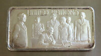 1974 UNITED NATIONS  #7748  ART BAR .999 FINE SILVER 1 TROY OZ  BY HAMILTON MINT