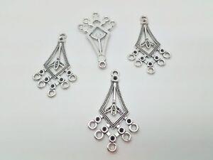"""4 Chandelier Drop Earring Pendant Settings 40mm 1.5"""" Earring Findings Components"""