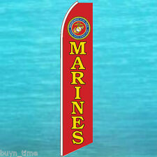 U.S. Marines Usmc Corps Flutter Flag Tall Curved Top Feather Swooper Banner Sign