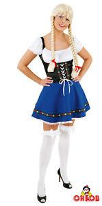 Orlob Dirndl Wiesn Kleid Damen Kostüm Karneval Fasching Oktoberfest Bluse Blau