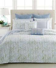 BARBARA BARRYSea Leaves Kelp Square Feather TOSS PILLOW Light Blue Green White