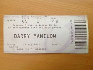 Barry Manilow Ticket Stub Wembley 2002