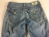 True Religion Jeans Flare Womens 27/28 Light Wash Twisted Seam 30 x 34 Actual