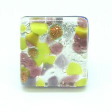 Murano Glass Ring Purple, Green and Silver Square From Venice