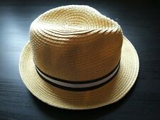 Mens M H&M Straw Look Ribbon Band Trilby Hat <LR752