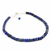 Best Quality 45.50 Cts Natural Faceted Blue Lapis Lazuli Round Beads Bracelet
