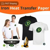 5/10/20/50 Iron Heat Transfer Paper Cotton T-Shirt Dark/Light Fabrics Inkjet