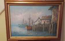 Vintage Seascape Large Original Oil Painting Signed by FLORENCE ~Great Condition