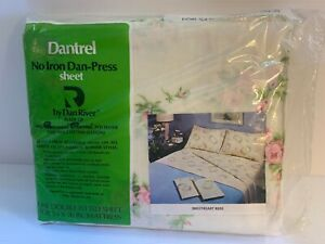 """Vintage NEW Dantrel Dan River Double Fitted Sheet For 54"""" X 76"""" Mattress No Iron"""