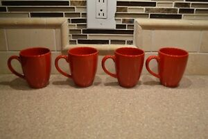 Set Of 4 Waechtersbach Fun Factory Tapered Ceramic Coffee Mugs Cups SOLID RED (O