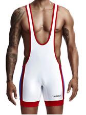 Mens X Large White & Red Stripe Sexy Wrestling Singlet Bodysuit Gay UK
