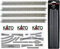 KATO 20-010 SET N.4 TRACKS RIGHTS LENGTH MM.186 with ROADBED BOX LADDER-N