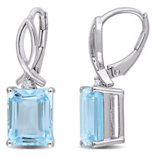 Amour Sterling Silver sky-Blue and White Topaz Drop Leverback Earrings