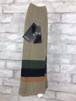 Women Men's Winter Tan Striped Warm Sweater Knit Scarf Long Mixed Wool 64x14