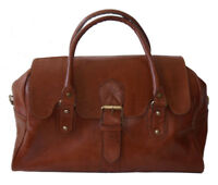 Vintage Style Genuine leather overnight bag/Large Hand bag/ duffle bag in Tan