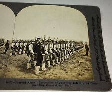 Antique Japanese Infantry Armed Military Soldiers & General Stereoview Photo!
