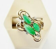 14K Solid Yellow Gold Apple Jade Cabochon & 0.06 TCW Diamond Ring size 5.5