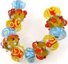 Lampwork Handmade Glass Beads Blue Yellow Orange Rondelle (12)