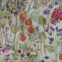 Voyage Decoration Lythmore Hedgerow Linen Floral Designer Curtain Fabric - Linen