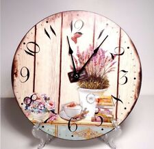 Large 30 cm Country Style Hanging Wall Clock  Flower  Design #3