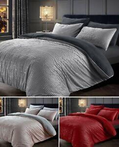 Teddy Bedding Set Sparkle Corduroy Fleece Thermal Cosy Quilt Duvet Cover Shimmer