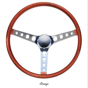 """15"""" Mooneyes 3-Spoke Steering Wheel Orange Metal Flake Finger Grip GS290CMOR"""
